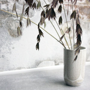 Vase, Light Stone Grey w/ brush strokes (small)