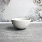 Half Sphere Bowl, White w/ glazed stripes (mini)