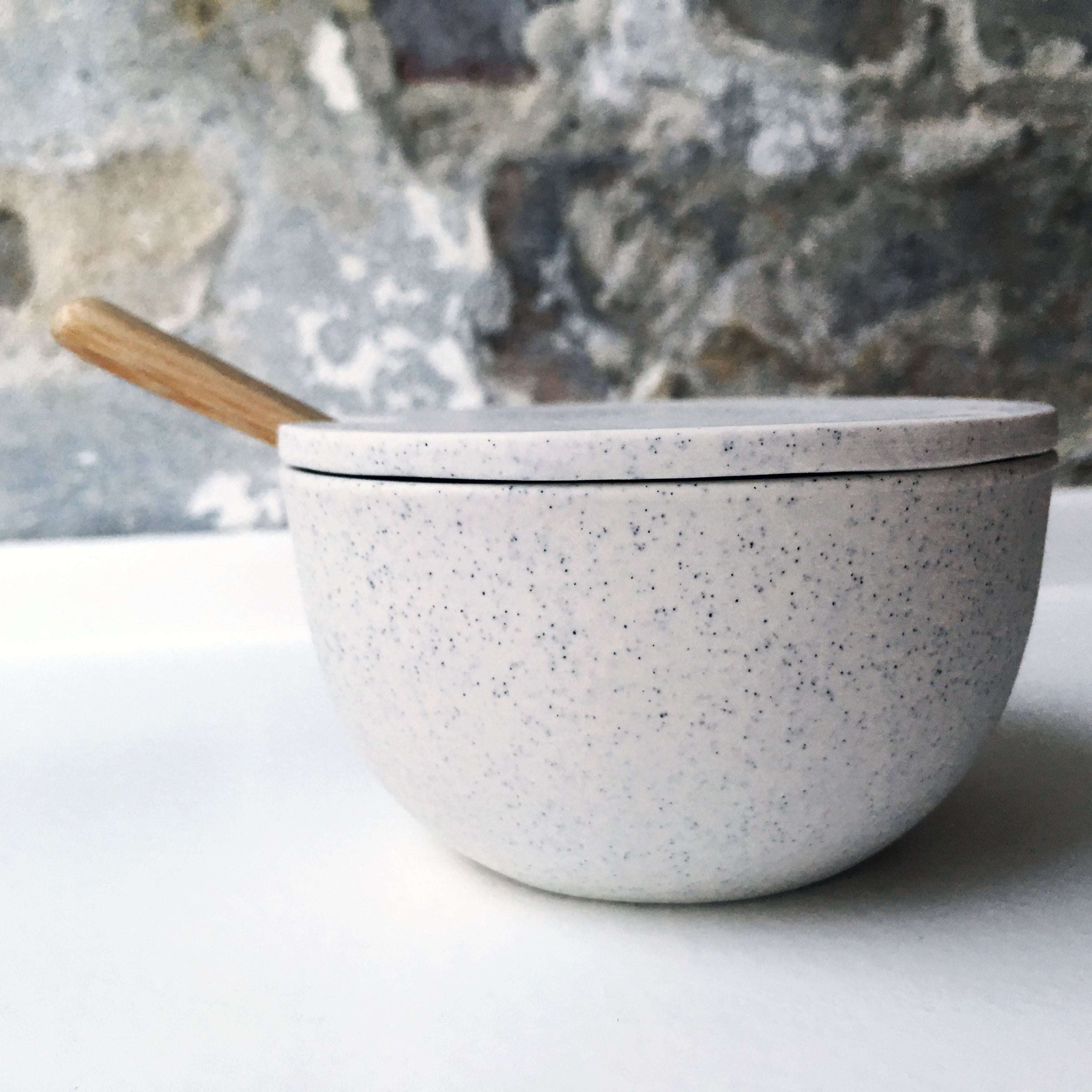 Sugar Bowl w/ lid & spoon, Light Stone Grey