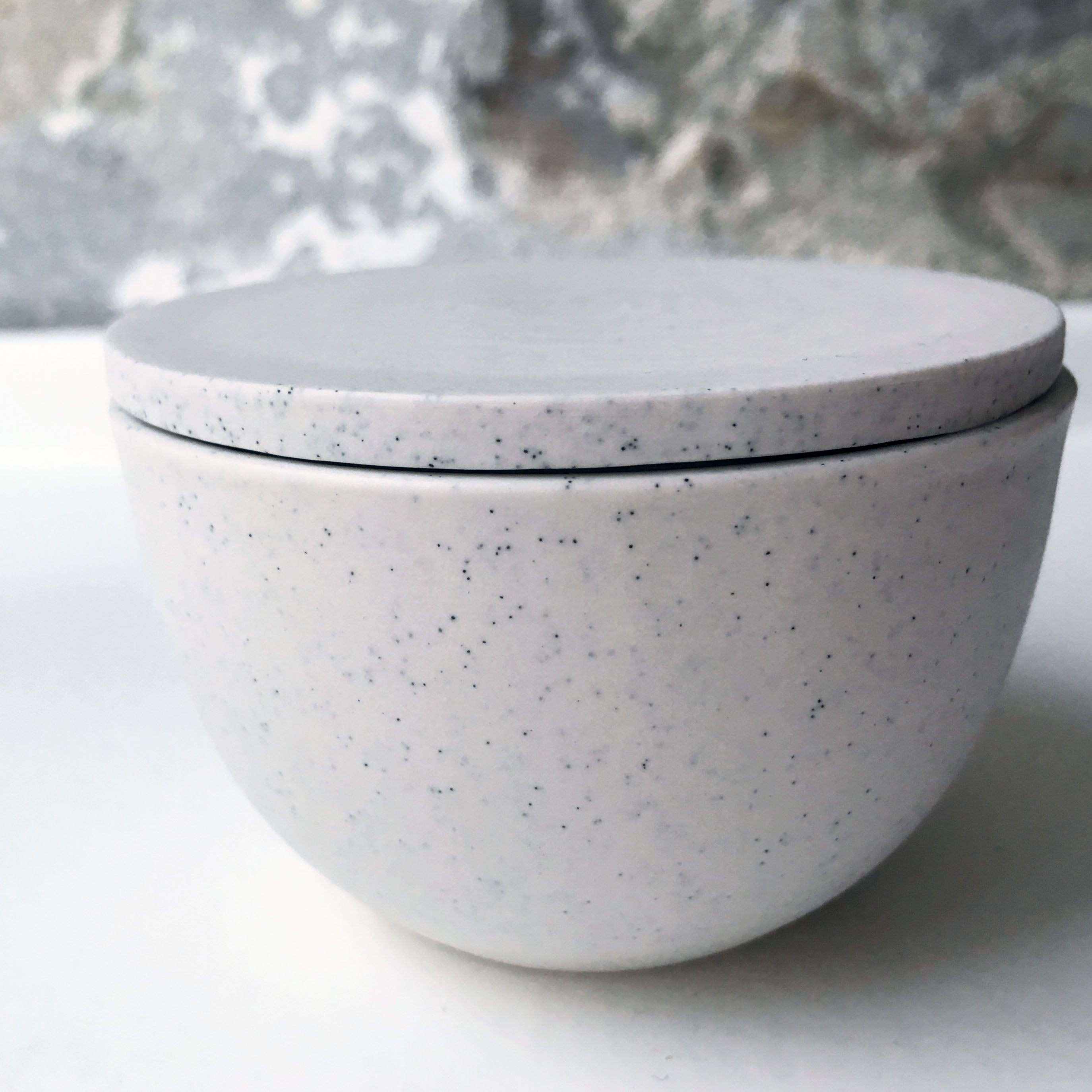 Lidded Bowl, Light Stone Grey