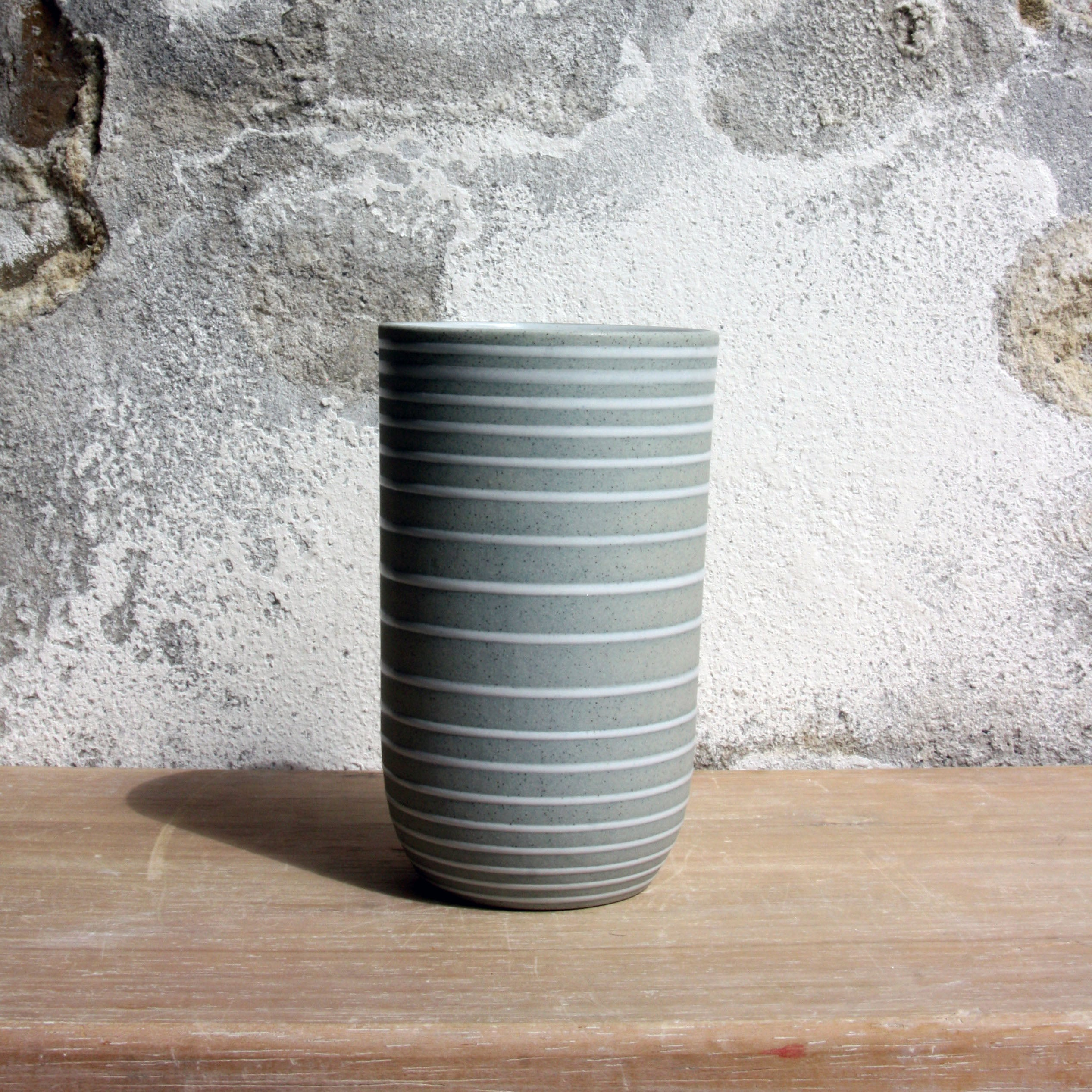 Vase, Stone Blue w/ glazed stripes (small)