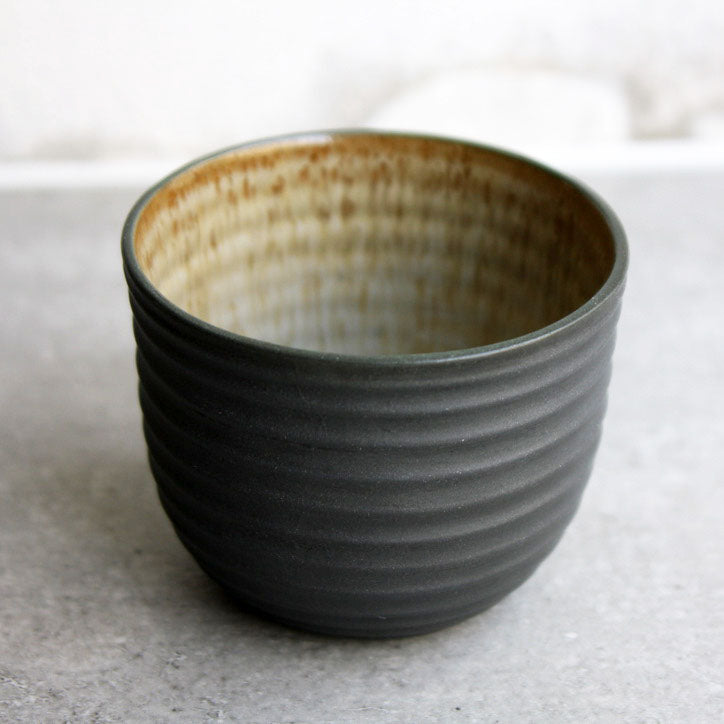 Textured Cup, Black w/ crystal glaze (200 ml)