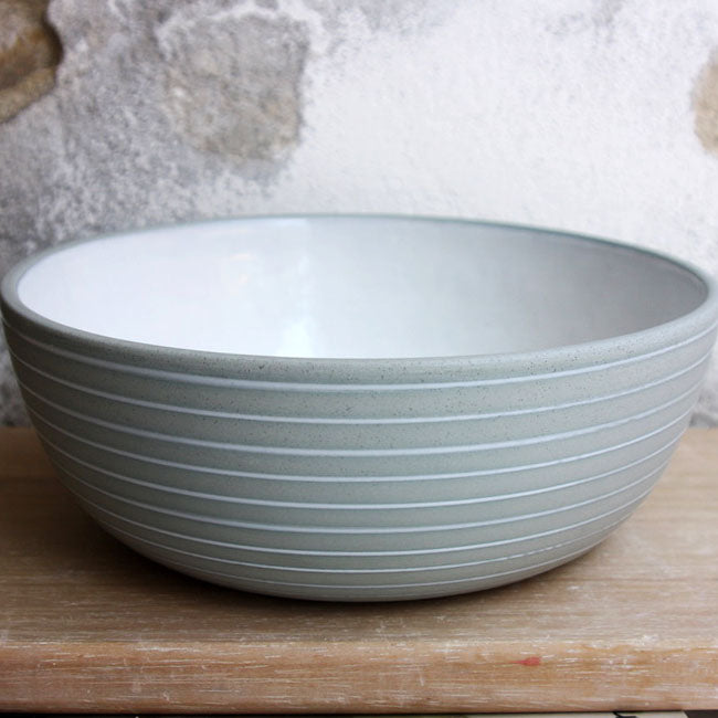 Serving Bowl, Stone Blue w/ glazed stripes