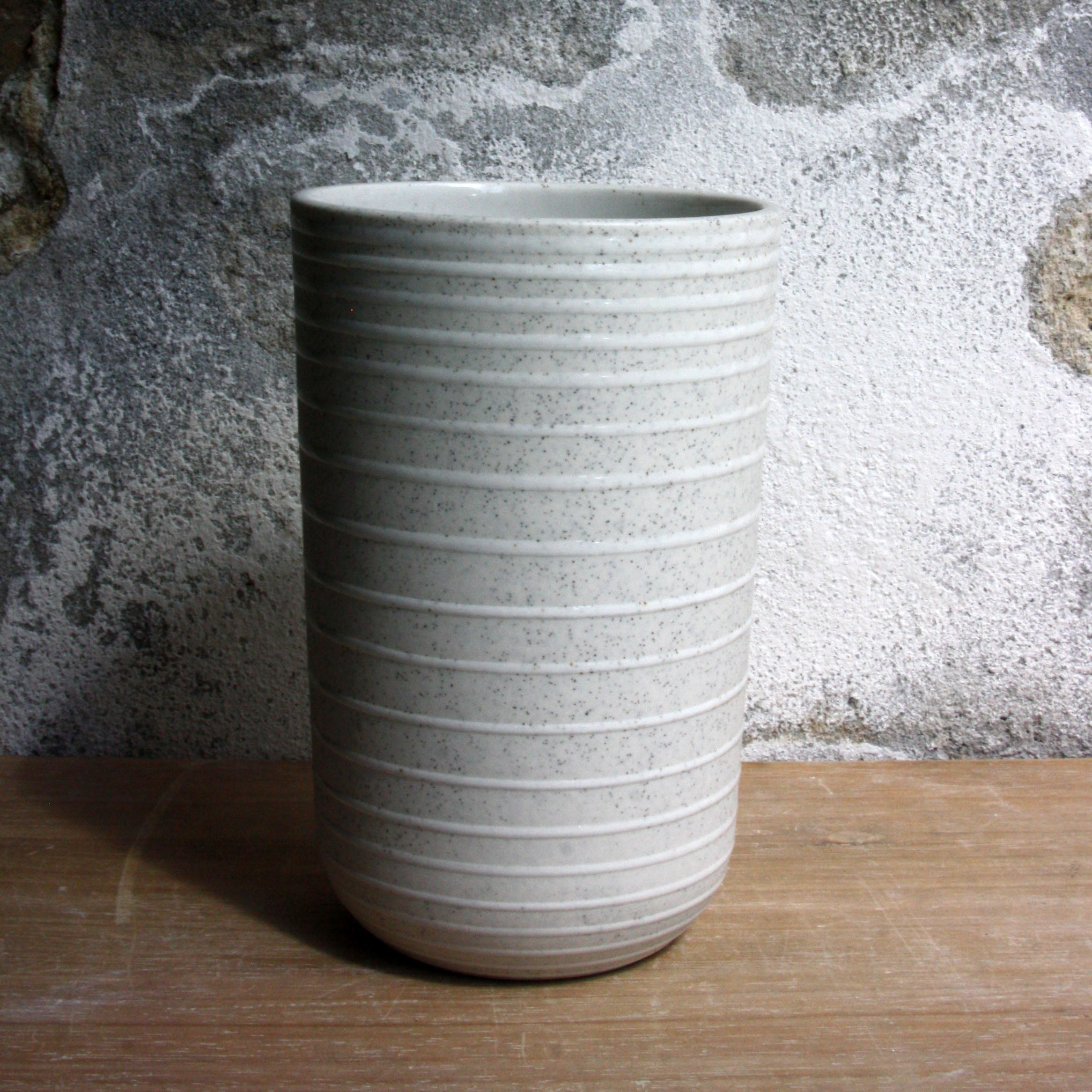 Vase, Light Stone Grey w/ glazed stripes (large)