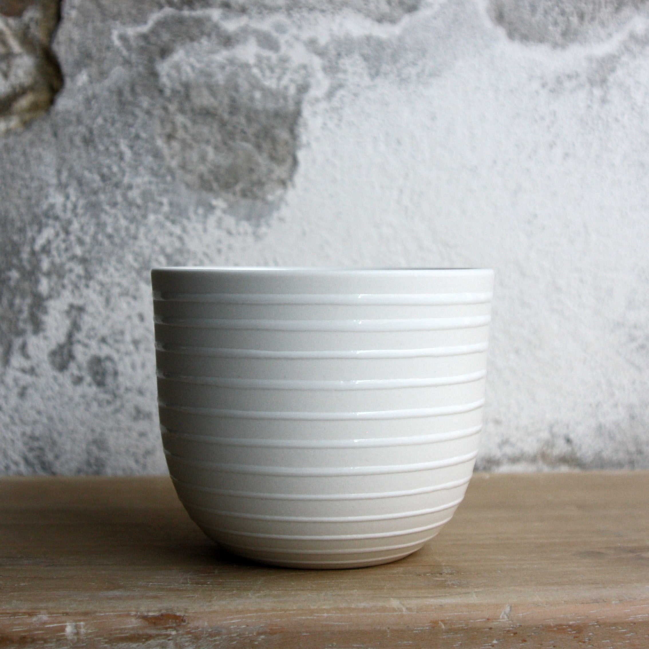 Coffee Cup, White w/ glazed stripes (250 ml)