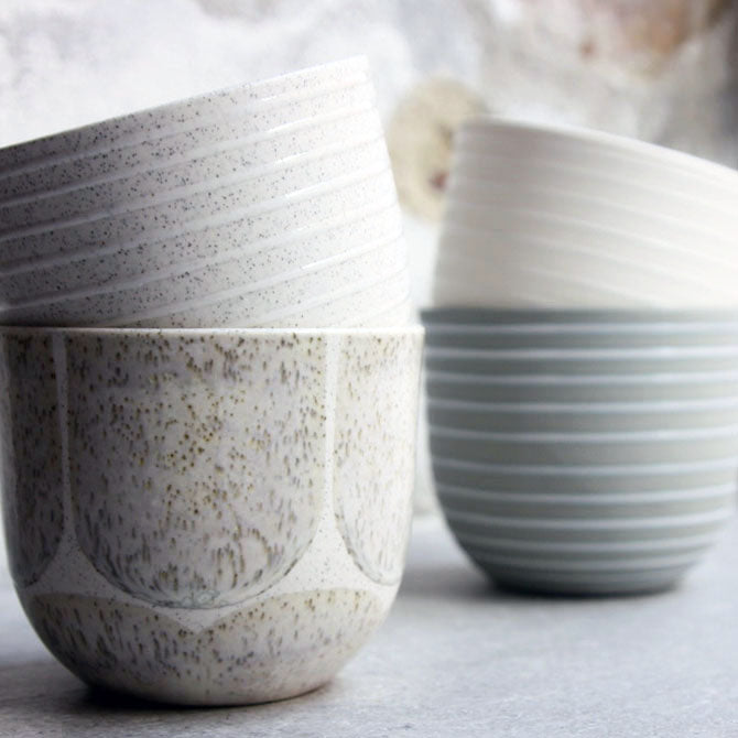 Coffee Cup, Light Stone Grey w/ glazed stripes (250 ml)