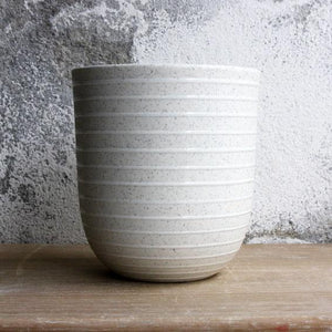Coffee/Tea Cup, Light Stone Grey w/ glazed stripes (400 ml)