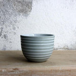 Espresso Cup, Stone Blue w/ glazed stripes (75 ml)