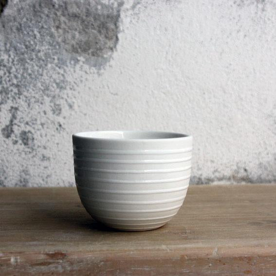 Espresso Cup, White w/ glazed stripes (75 ml)