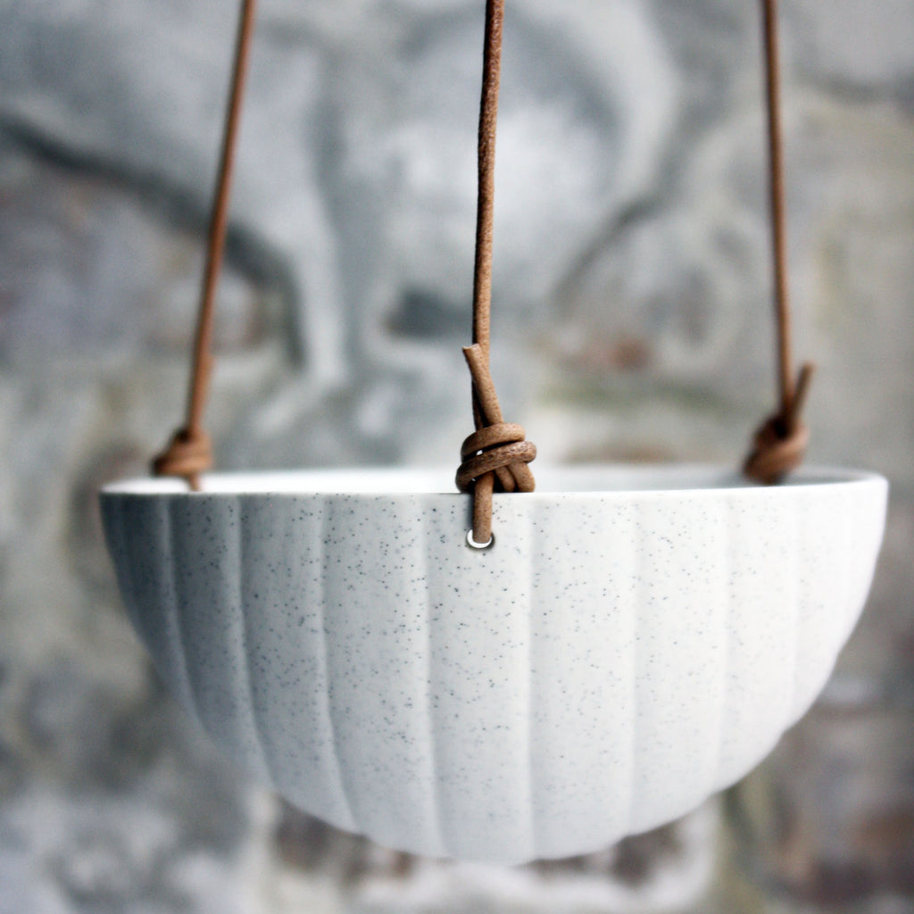 Hanging Bowl, Light Stone Grey w/ texture (medium)
