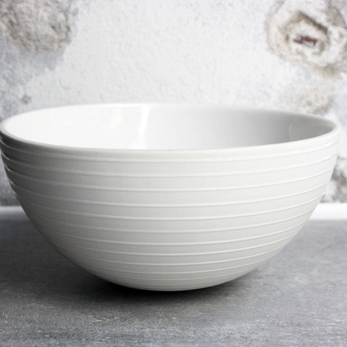 Half Sphere Bowl, White w/ glazed stripes (large)