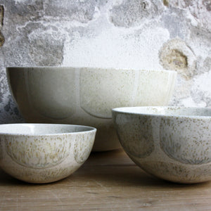 Half Sphere Bowl, Light Stone Grey w/ brush strokes (large)