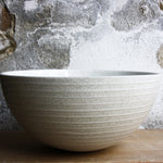 Half Sphere Bowl, Light Stone Grey w/ glazed stripes (large)