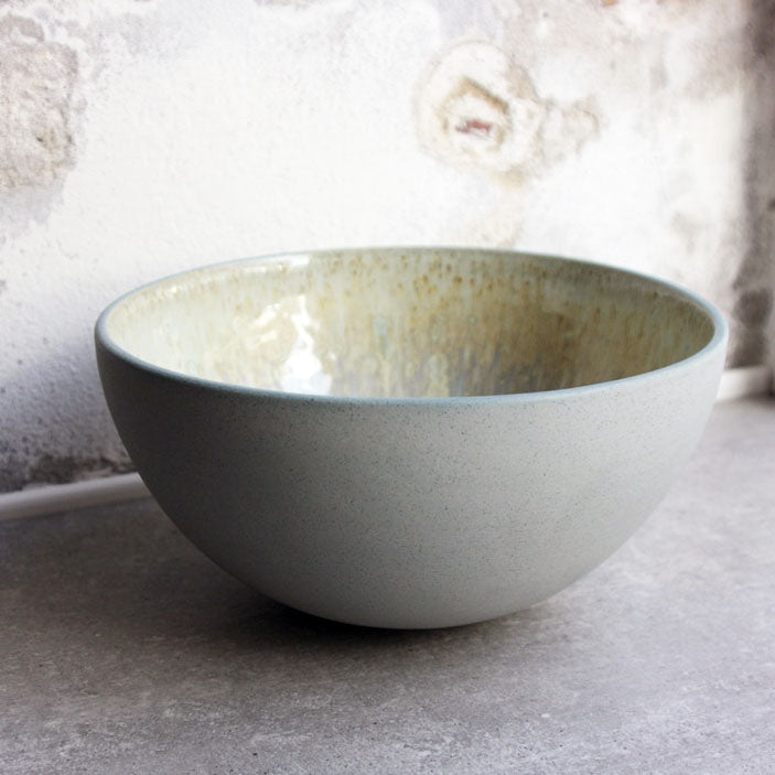 Half Sphere Bowl, Stone Blue w/ crystal glaze (large)