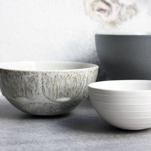 Half Sphere Bowl, Light Stone Grey w/ brush strokes (mini)