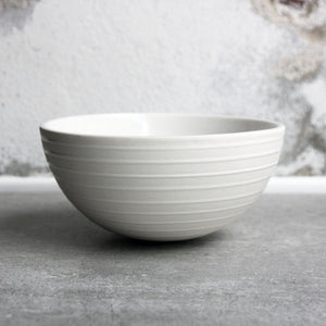 Half Sphere Bowl, White w/ glazed stripes (medium)