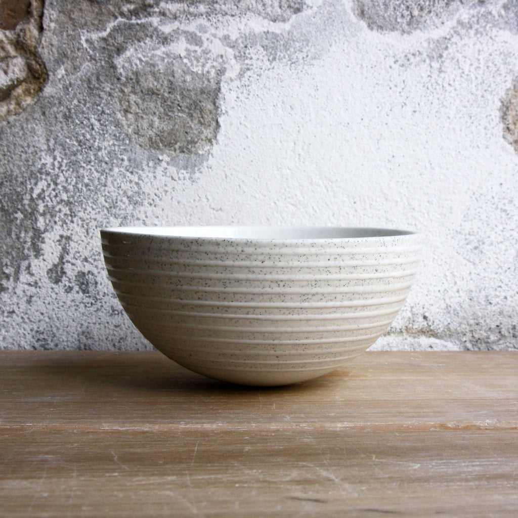Half Sphere Bowl, Light Stone Grey w/ glazed stripes (medium)