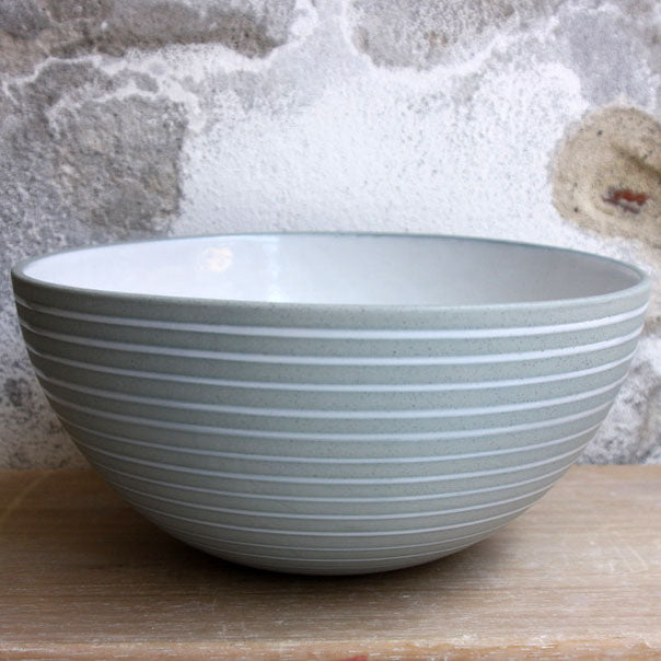 Half Sphere Bowl, Stone Blue w/ glazed stripes (large)