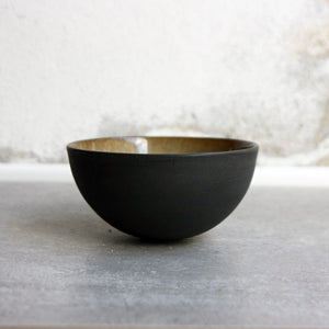 Half Sphere Bowl, Black w/ crystal glaze (mini)