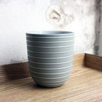 Coffee Cup, Stone Blue w/ glazed stripes (400 ml)