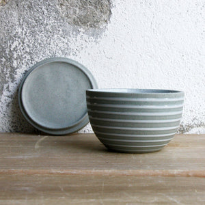 Lidded Bowl, Stone Blue w/ glazed stripes