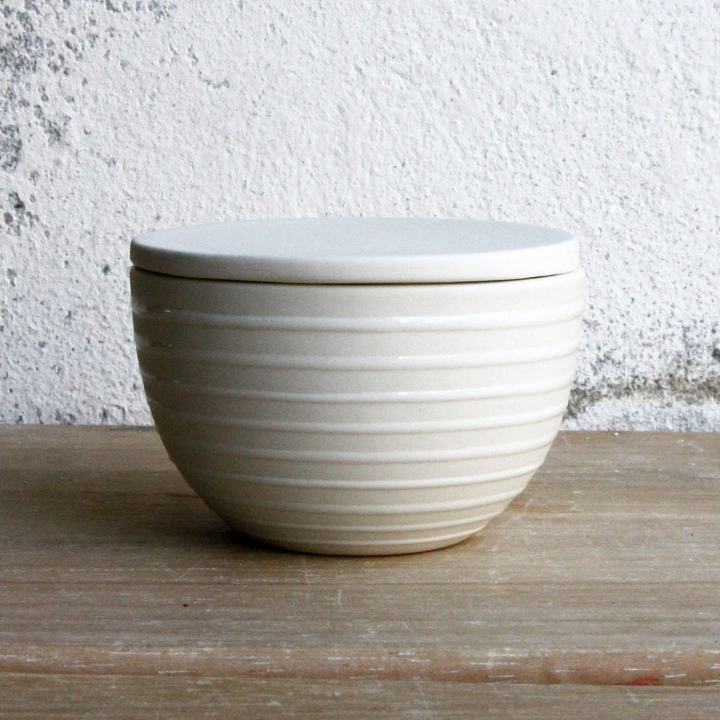 Lidded Bowl, White w/ glazed stripes