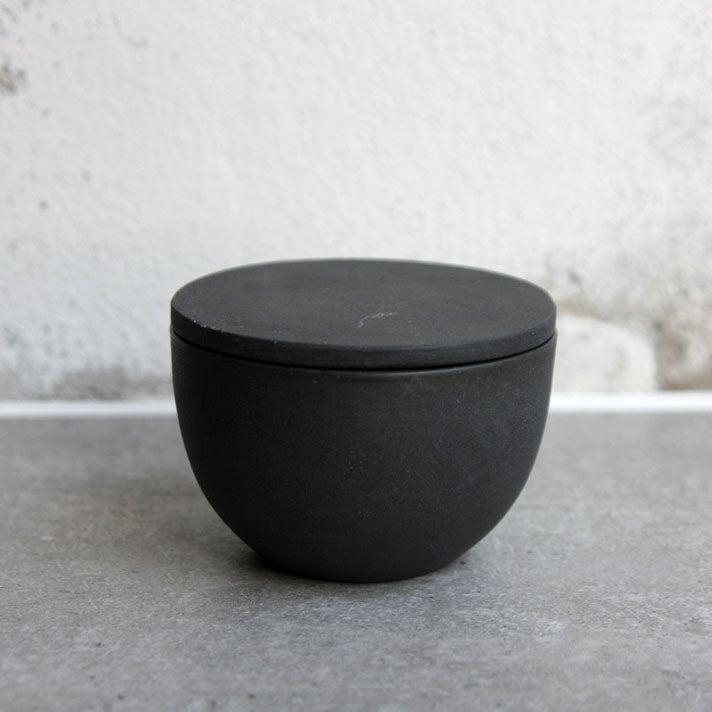Lidded Bowl, Black w/ crystal glaze
