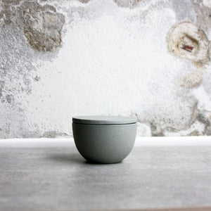 Lidded Bowl, Stone Blue w/ crystal glaze