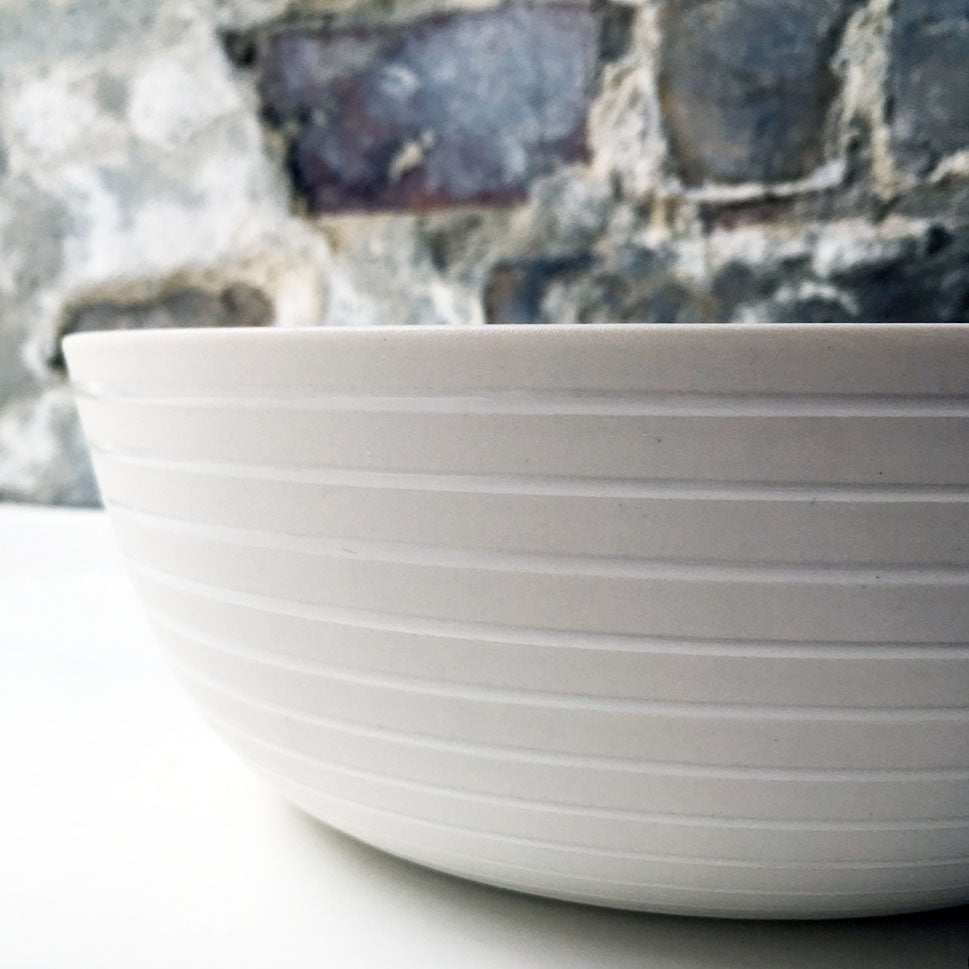 Serving Bowl, White w/ glazed stripes