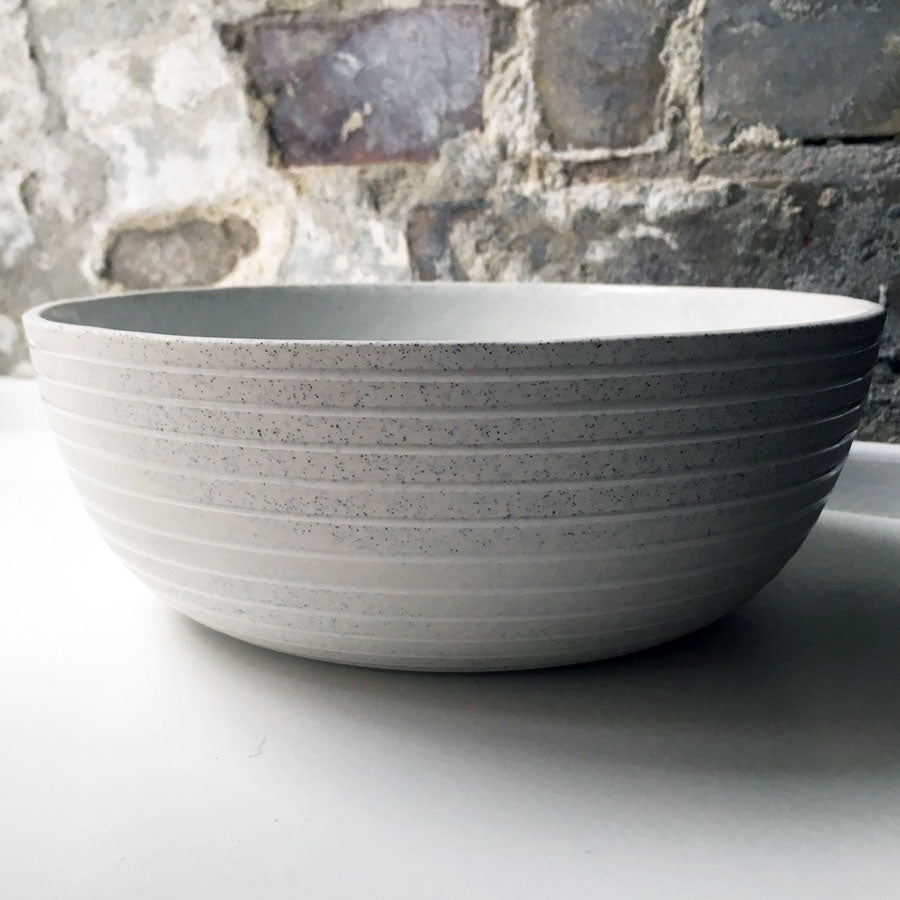 Serving Bowl, Light Stone Grey w/ glazed stripes