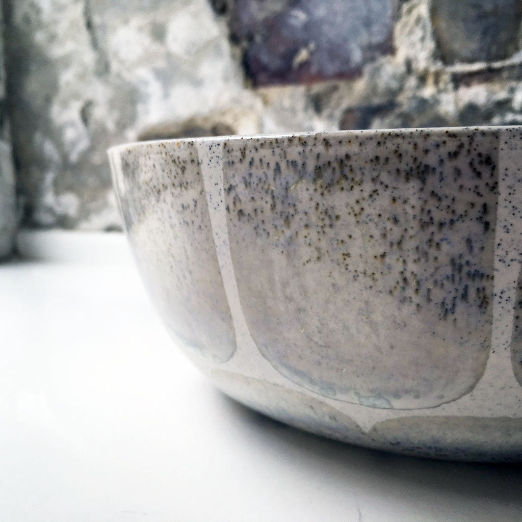 Serving Bowl, Light Stone Grey w/ brush strokes