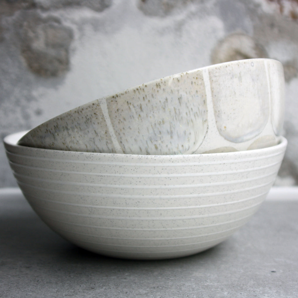 Bowl, Light Stone Grey w/ glazed stripes (small)