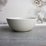 Bowl, White w/ glazed stripes (small)