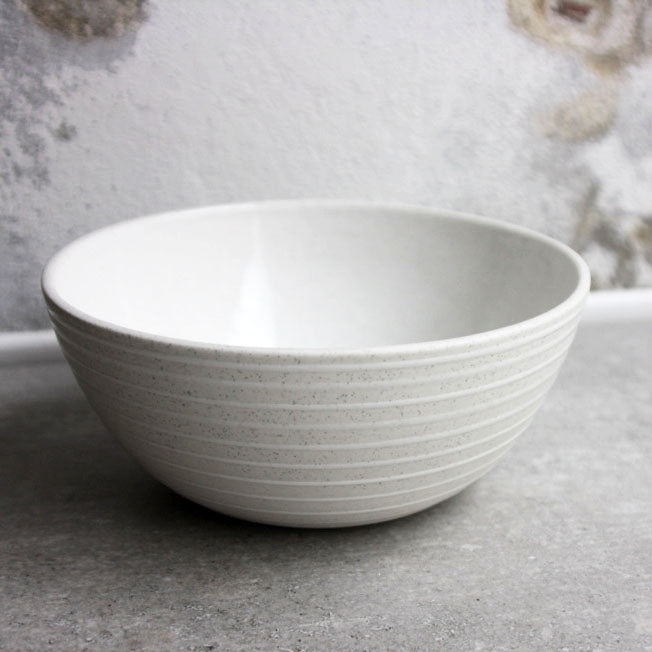 Bowl, Light Stone Grey w/ glazed stripes (medium)
