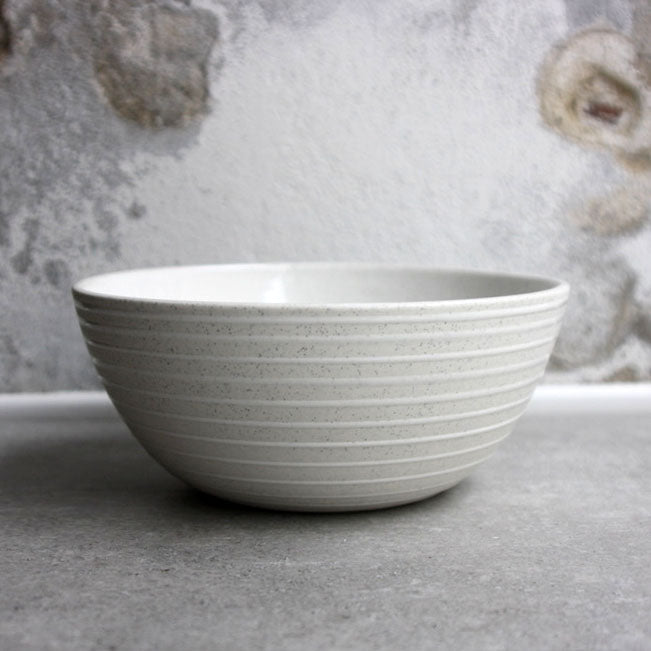 Bowl, Light Stone Grey w/ glazed stripes (large)
