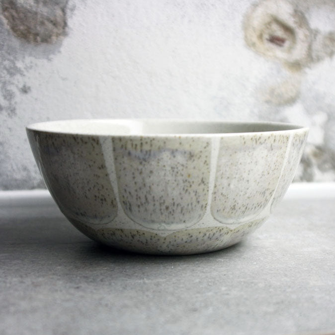 Bowl, Light Stone Grey w/ brush strokes (medium)