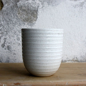 Coffee Cup, Light Stone Grey w/ glazed stripes (200 ml)