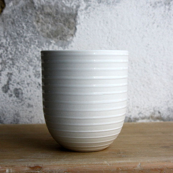 Coffee Cup, White w/ glazed stripes (200 ml)
