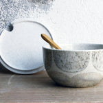 Sugar Bowl w/ lid & spoon, Light Stone Grey w/ brush strokes