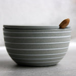 Sugar Bowl w/ lid & spoon, Stone Blue w/ glazed stripes