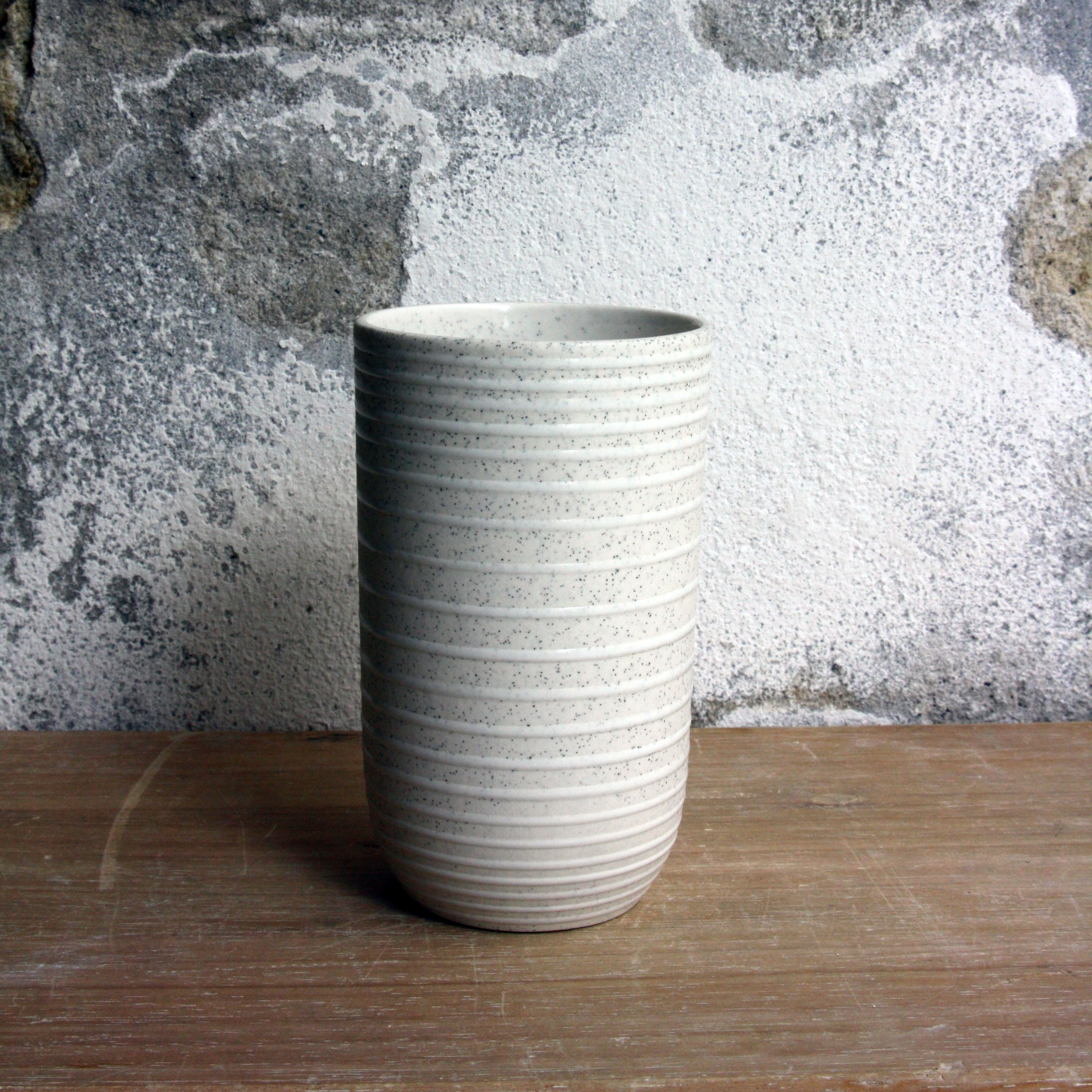 Vase, Light Stone Grey w/ glazed stripes (small)