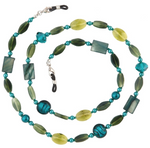 JADE EYEGLASS CHAIN- HOLDER/ADORN COLLECTION/GREEN BEADS/LOBSTER CLAW CLASP