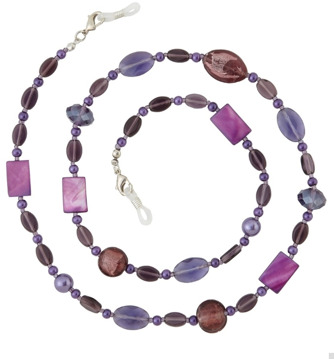 AMETHYST CHAIN/HOLDER NECKLACE ADORN COLLECTION/PURPLE BEADS/LOBSTER CLAW CLASP