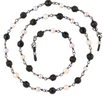 ORCHID EYEGLASS CHAIN / BLACK BEADS / PURPLE & WHITE PEARLS