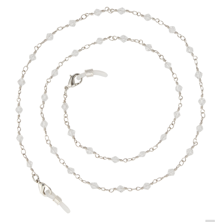 PIPER EYEGLASS CHAIN-NECKLACE  / SILVER METAL / SMALL CLEAR BEADS