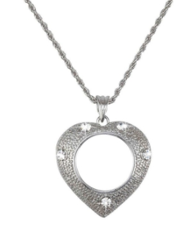 MAGNIFIER NECKLACE/ SILVER HEART/ SLVR CHAIN/ 5X MAG CLM-HEART
