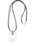 KODA EYE GLASS HOLDER NECKLACE/SILVER BEADS, BLACK ROPE
