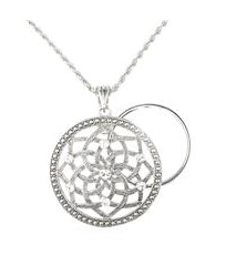 Silver Lotus Magnifier Necklace 3X
