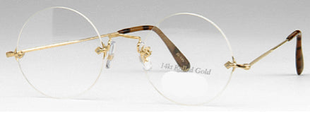 Round or Panto Rimless 14K Gold Eyeglasses (No longer carry at this time)
