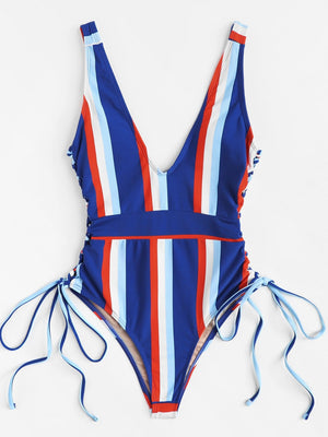Lace-up One Piece Swimsuit